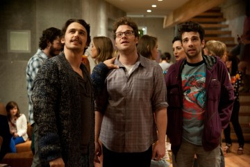 James Franco, Seth Rogen and Jay Baruchel in 'This is the End'.(Courtesy of Columbia Pictures)