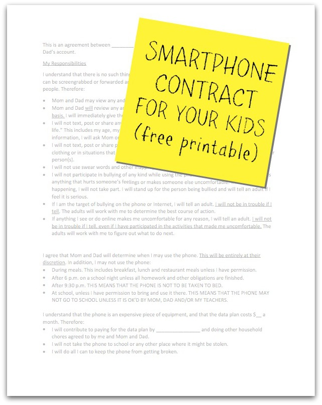 Kids and Smartphones - I Gave Mine a Contract
