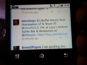 Using Twitter Mobile on an Android Phone Reading a Local Restaurant Tweet with Web Link