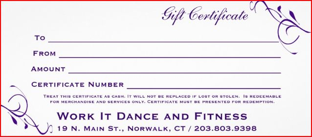 Gift Certificate - Work It Dance and Fitness, Norwalk, CT