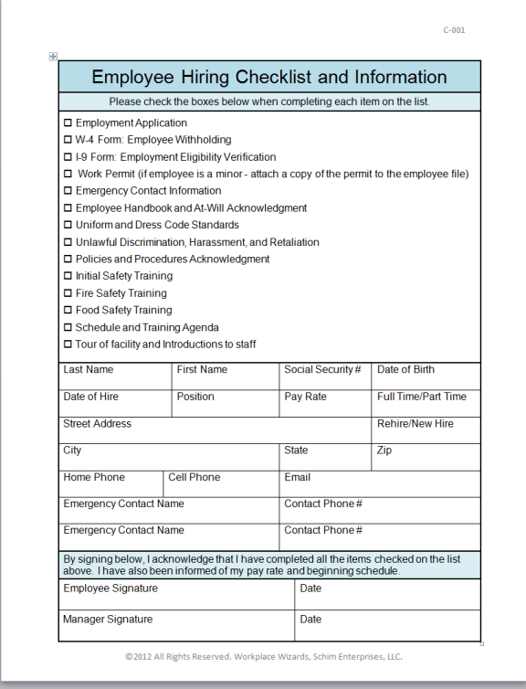 Employee Forms For New Hire | Hr Recruitment Officer