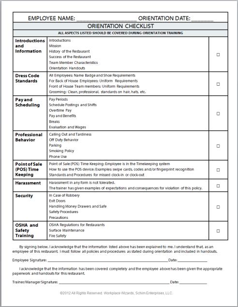 New Cumberland Pennsylvania Restaurant Consultants Restaurant – Restaurant Checklist Template