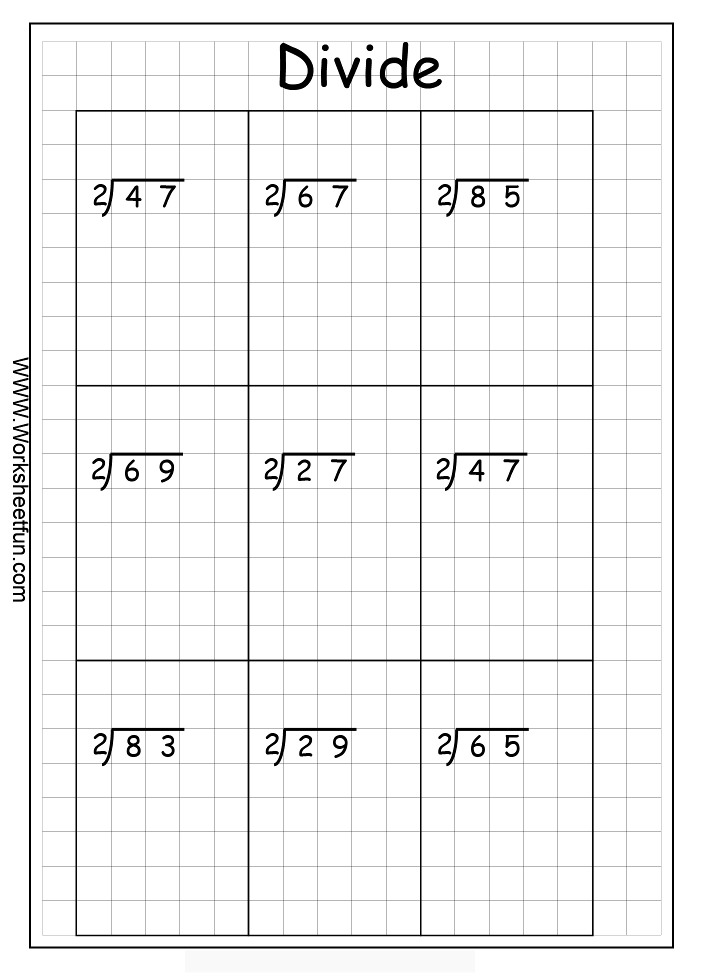 free long division worksheets on graph paper