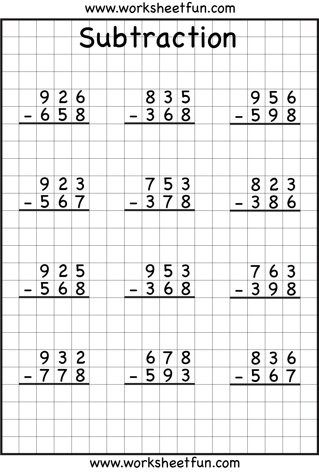 subtraction with regrouping on graph paper