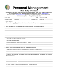 6 Best Images of Personal Management Merit Badge Worksheet ...