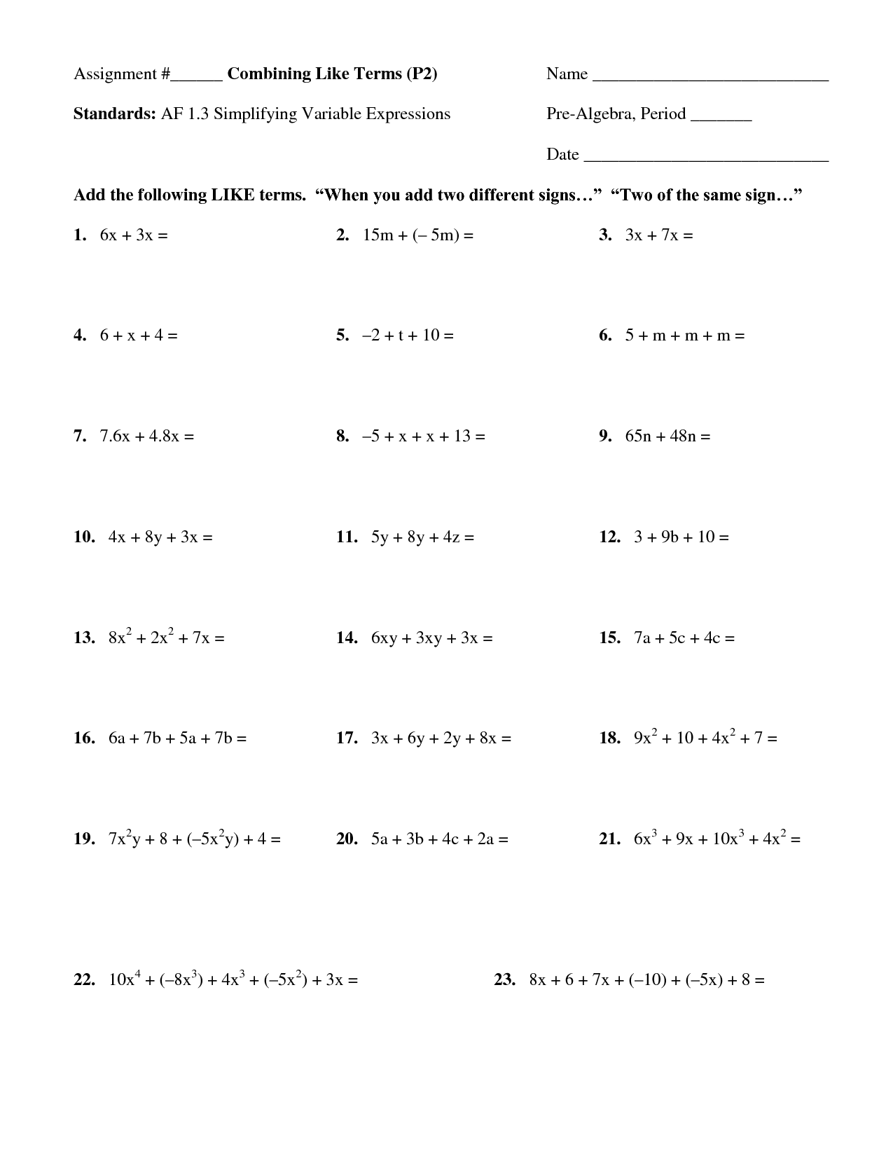 Combining Like Terms | Worksheet | Education.com
