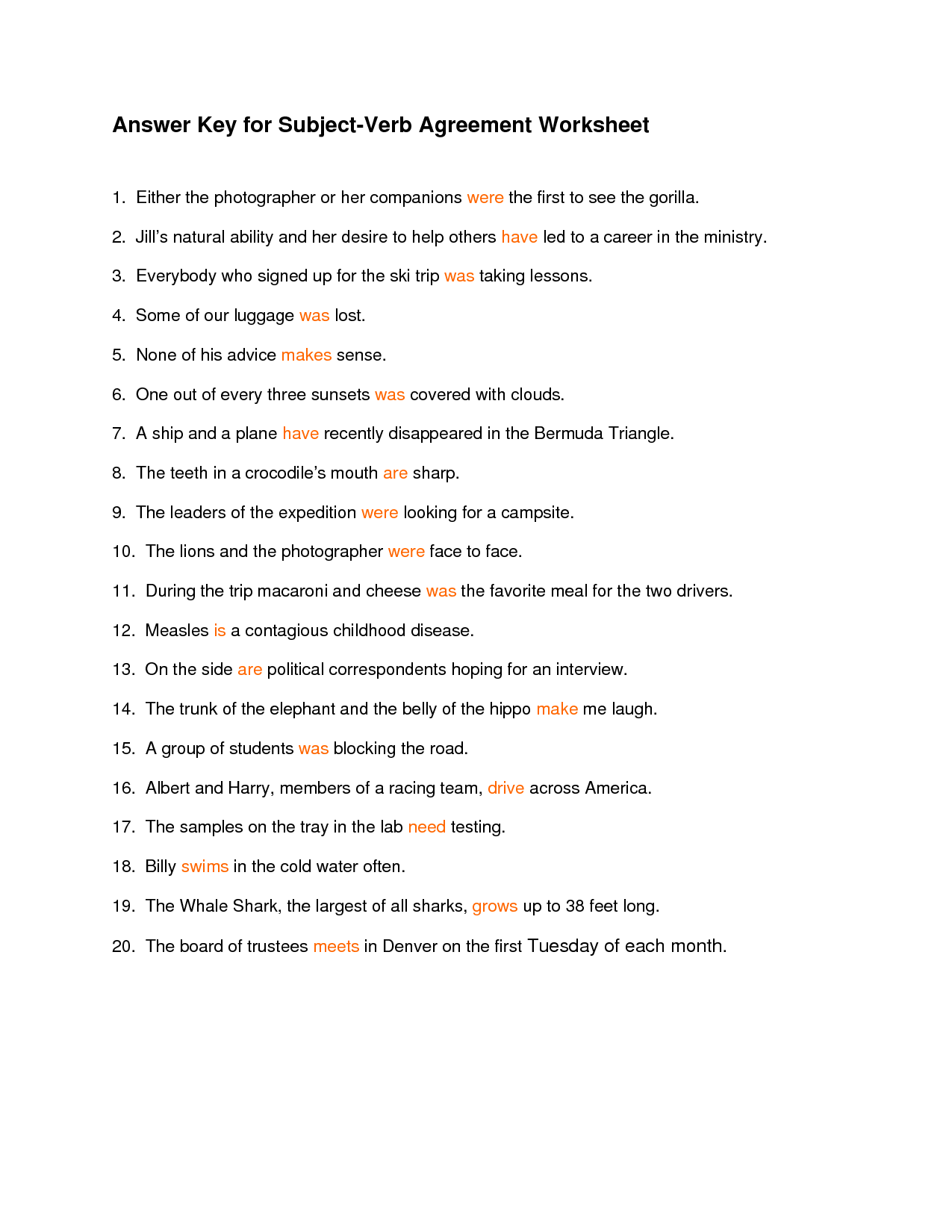worksheet Subject Verb Agreement Worksheets With Answers towson subject verb agreement exercise 1 compromise agreements exercises university 14 best images of worksheet present simple