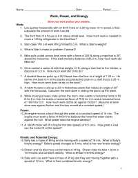 10 Best Images of Work Energy And Power Worksheet ...