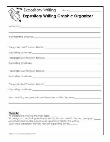 Expository essay graphic organizer middle school