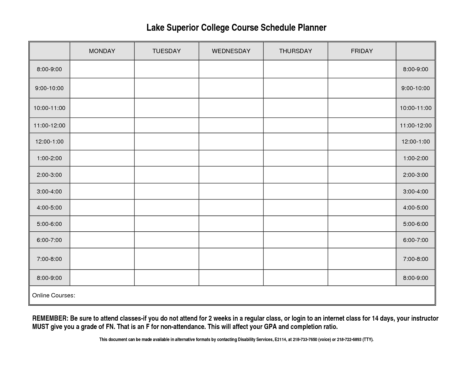 college student schedule template