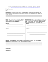 Reciprocal Teaching Worksheet - Free worksheets library ...