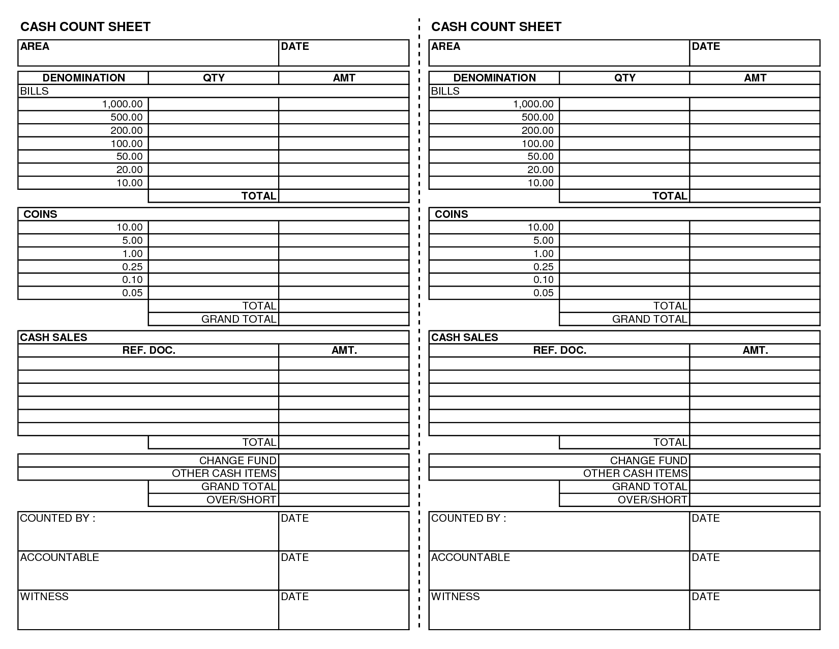 printable weekly cash drawer count www