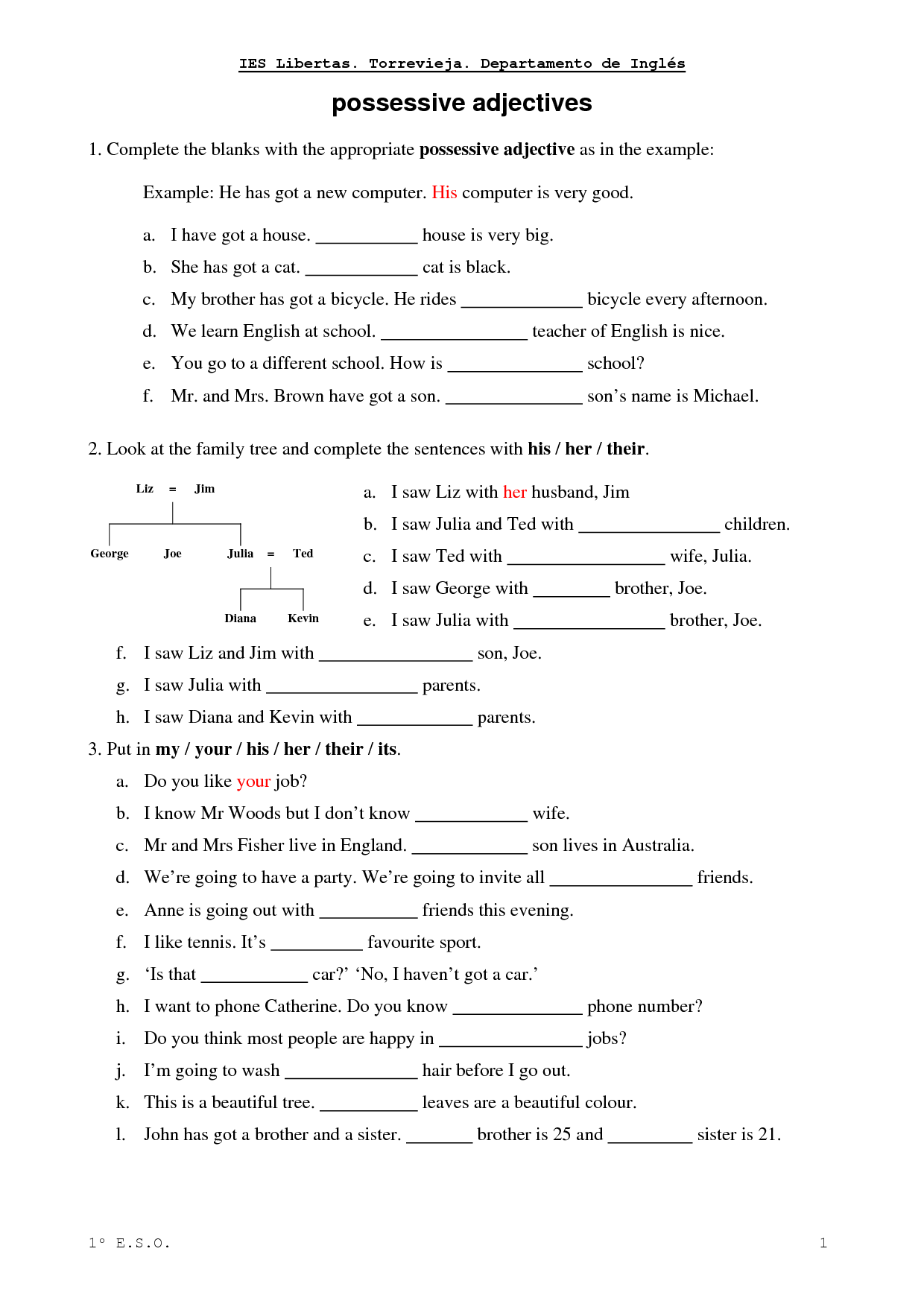 Complete with the right possessive adjectives - ESL worksheets ...