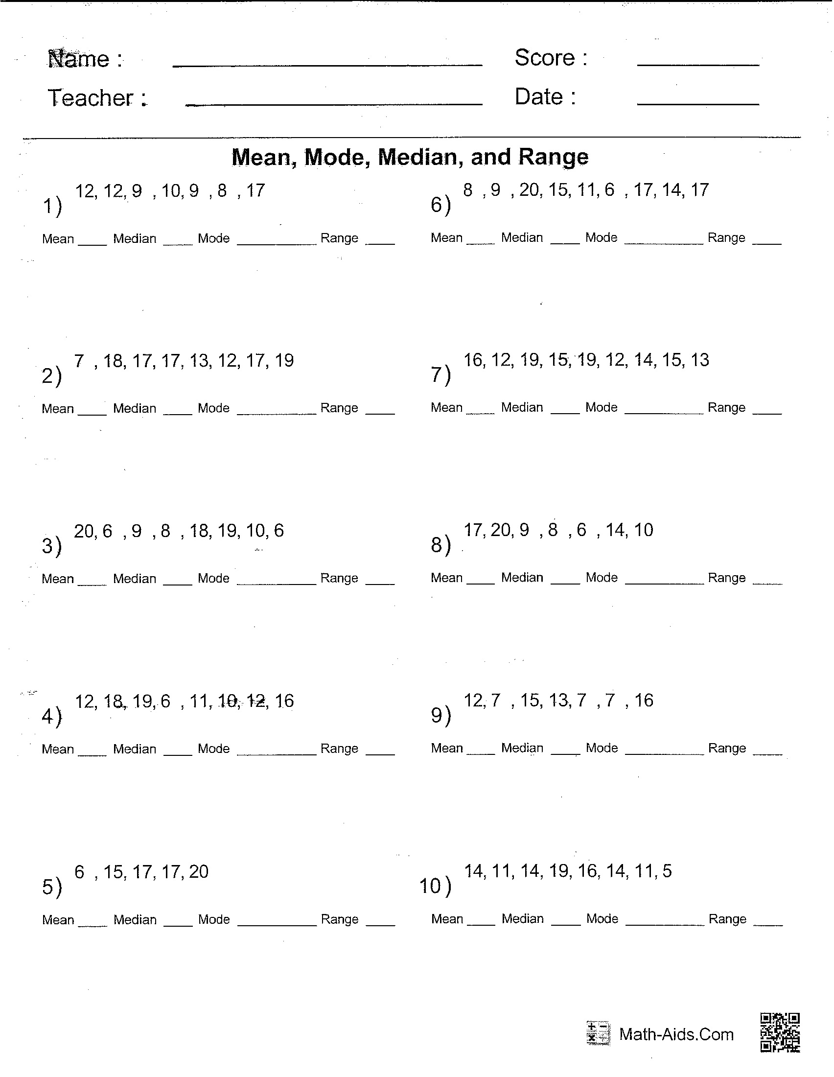 worksheet Mean Median Mode Range Printable Worksheets worksheet 612792 mean mode median range writing resume worksheet