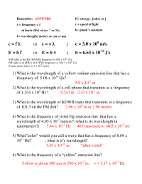 16 Best Images of Wavelength Problems And Answers ...