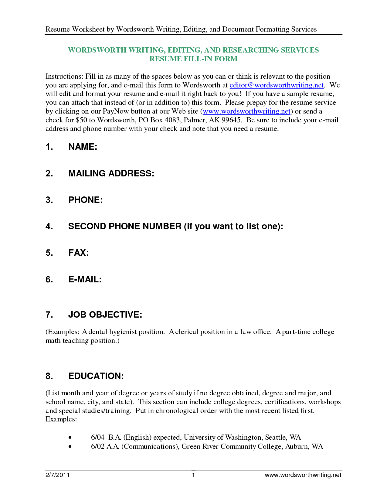 free resume templates that you can fill in