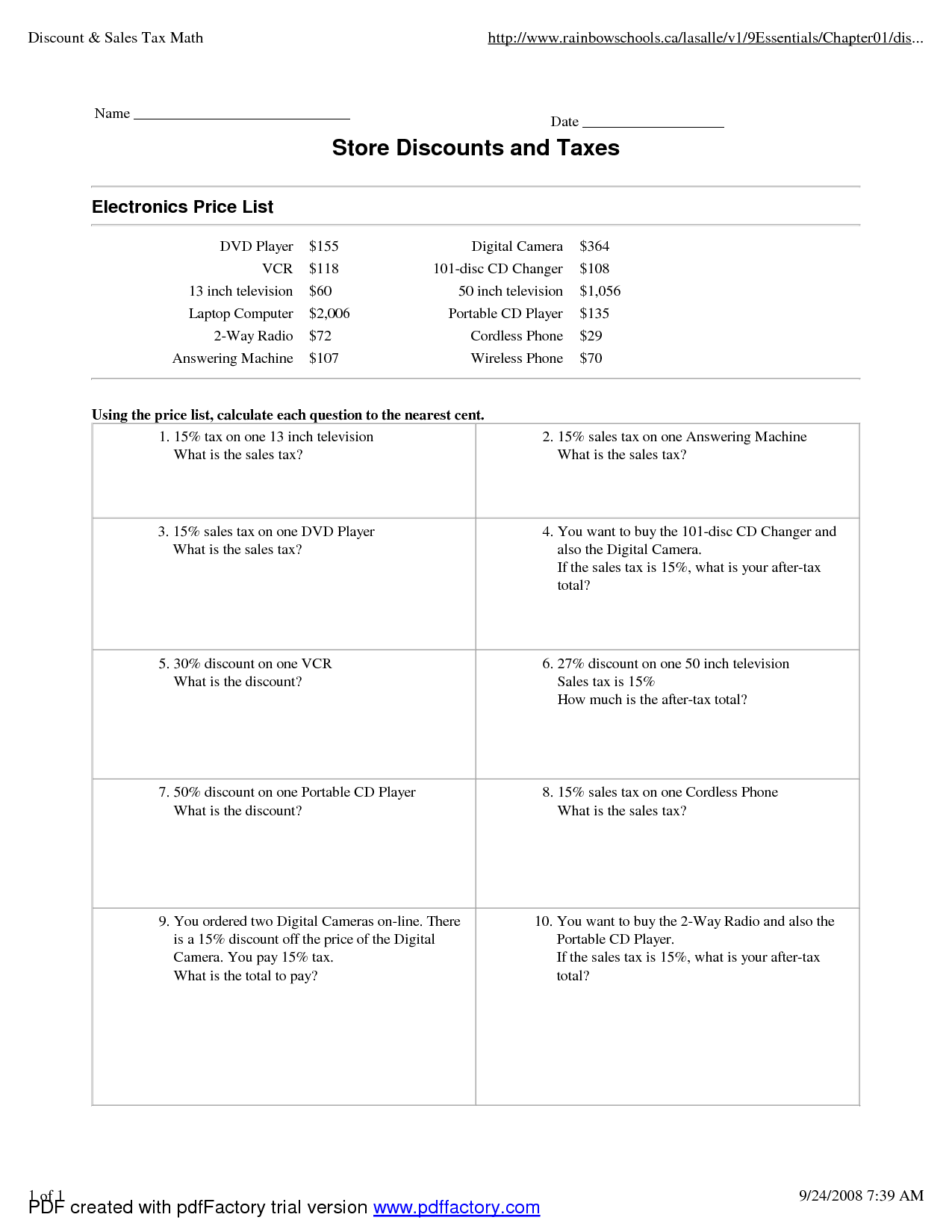 Problems with Tax and Discounts - 4 Worksheets