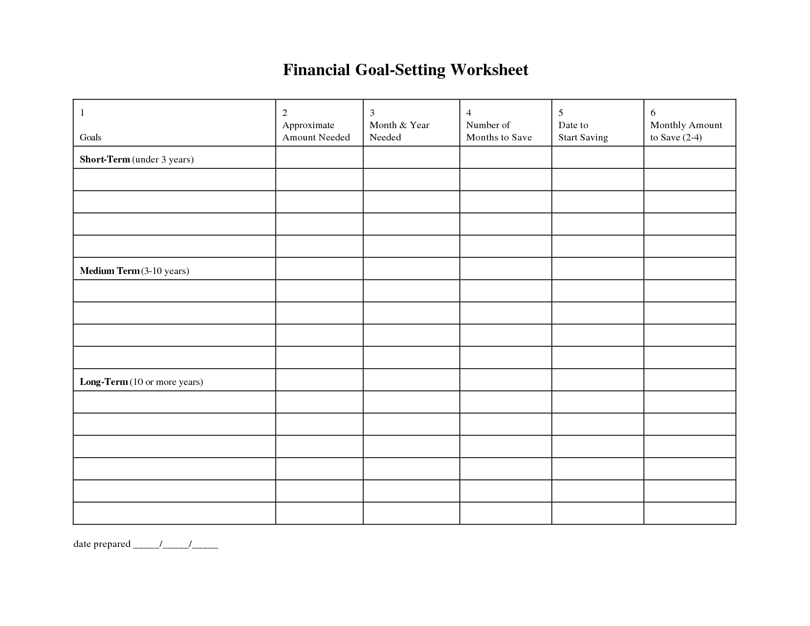 Worksheets Financial Goal Worksheet goal setting plan template get without losing sleep personal 2017 setting