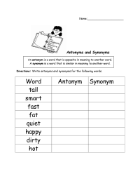 Search Results for Synonym And Antonym Worksheets For ...