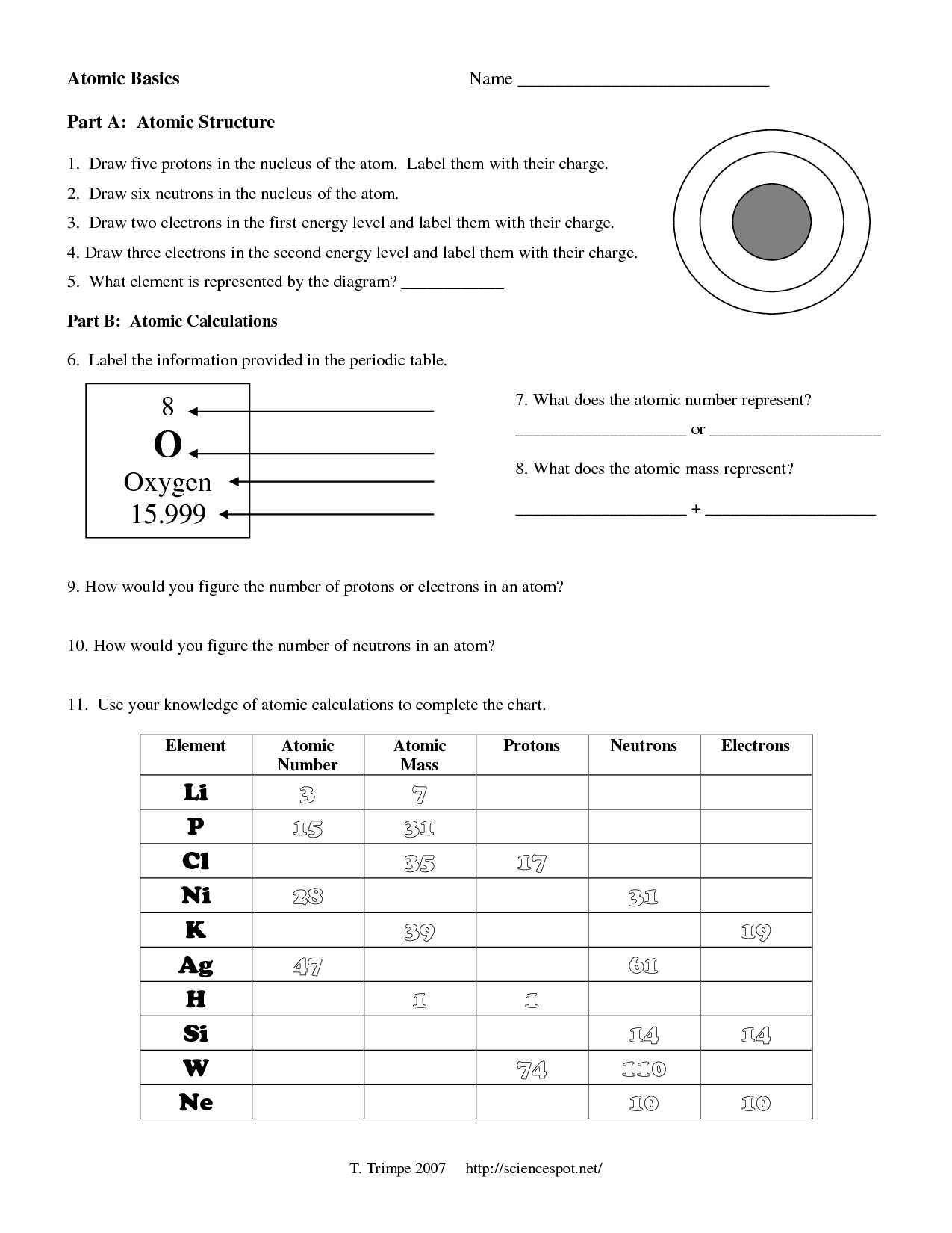 Atomic Structure Worksheet Answer Key   Escolagersonalvesgui