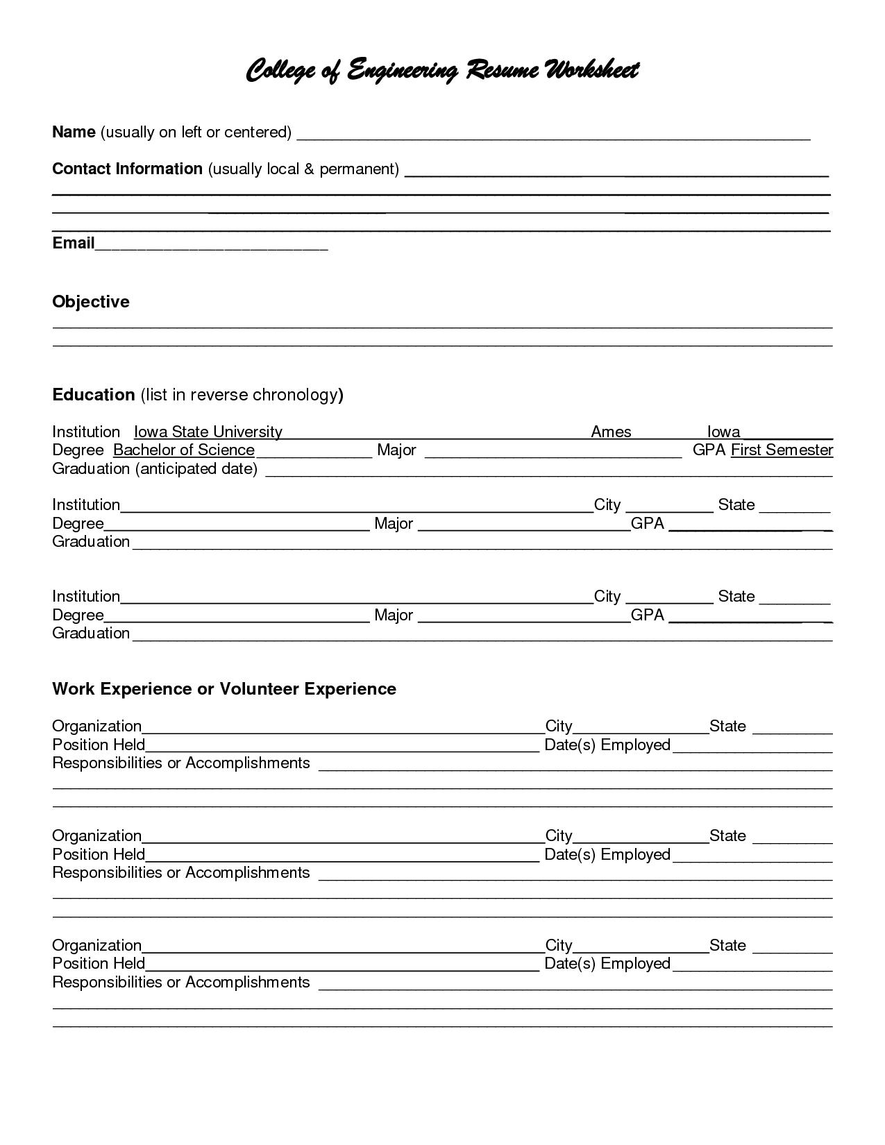 college resume worksheet
