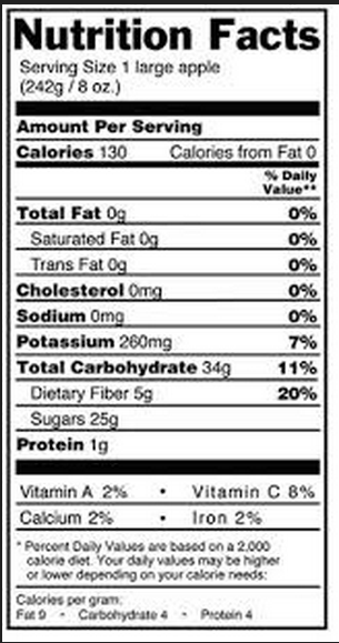 nutrition facts template excel
