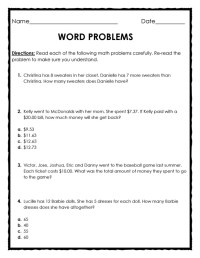 Adding And Subtracting Fraction Word Problems 5th Grade