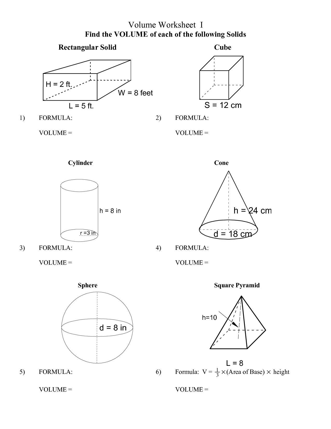 worksheet Volume Pyramid Worksheet Mytourvn Worksheet Study Site