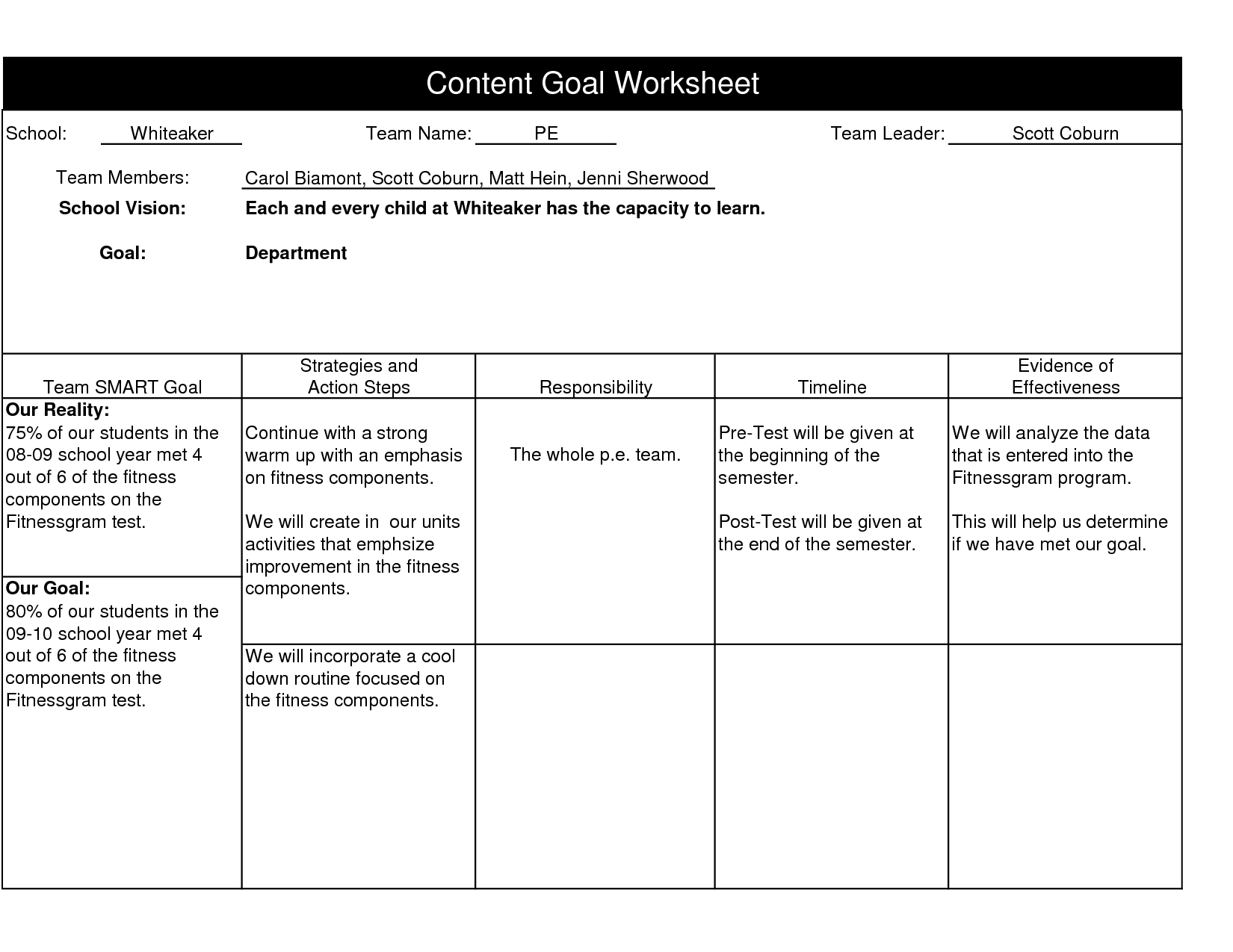 personal fitness worksheets