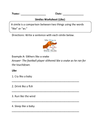 16 Best Images of Simile Worksheets 2nd Grade - Simile and ...
