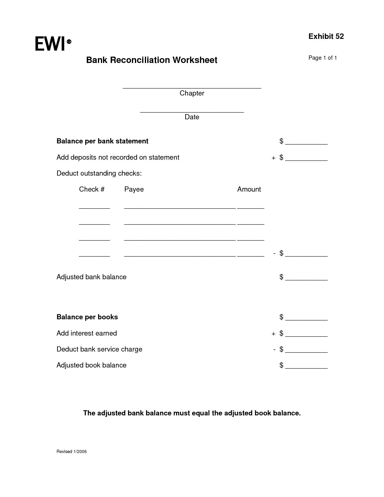 checkbook reconciliation form