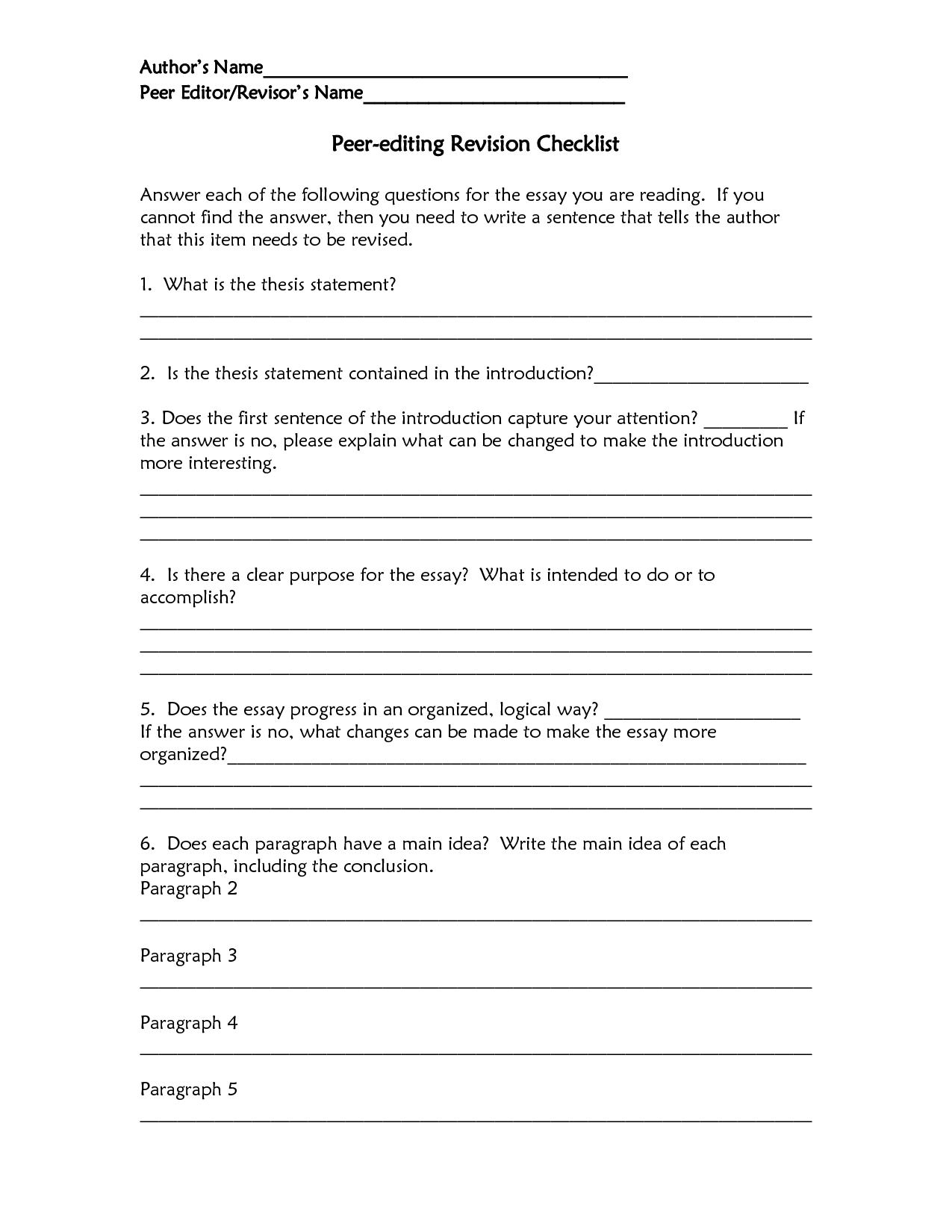 Peer Review Resume Checklist – Revising and Editing Worksheets