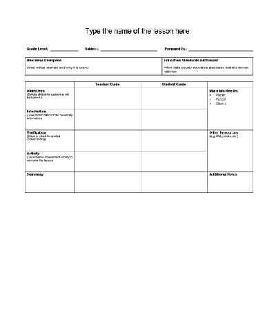 15 Lesson Plan Templates Printable Word amp Excel Templates