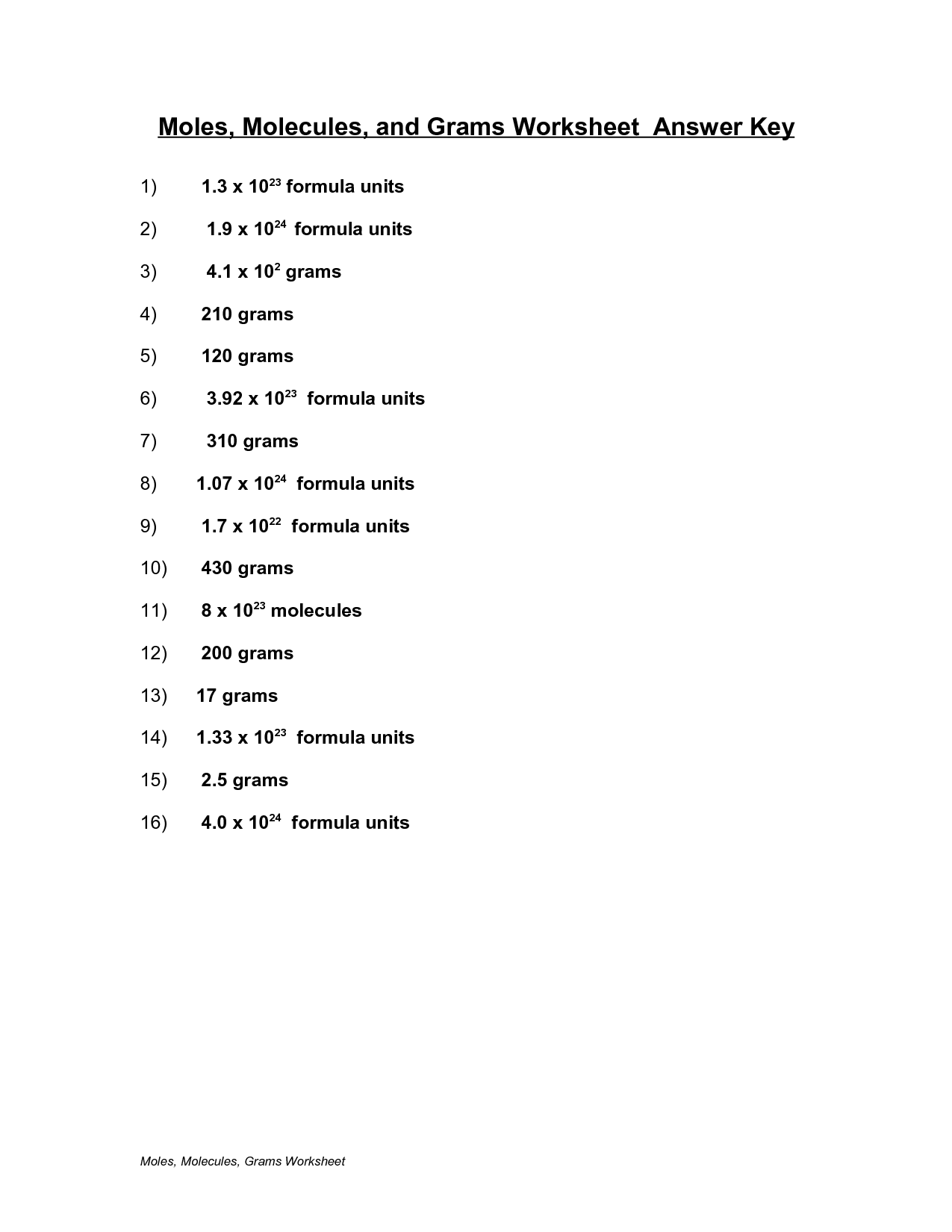moles molecules and grams worksheet answer key