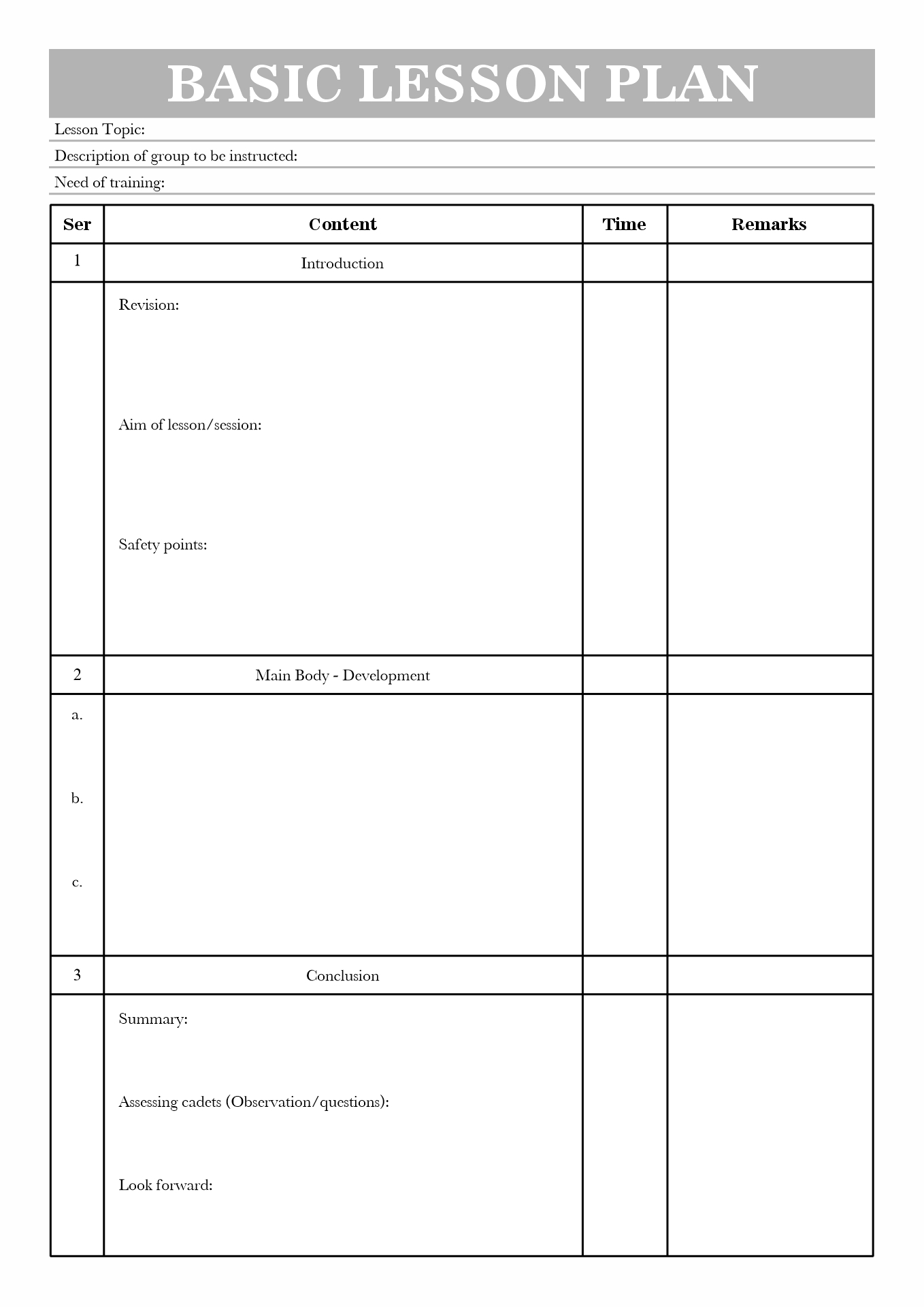 Personal Safety Plan Template Costumepartyrun - Army lesson plan template