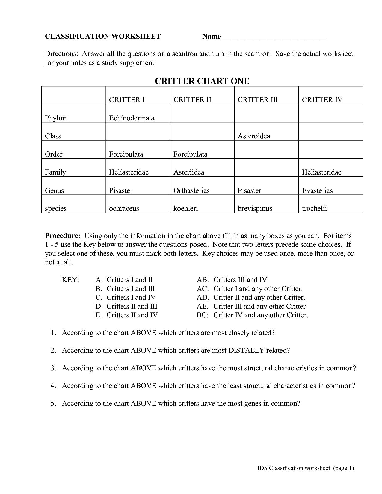 Taxonomy Classification Worksheet