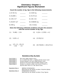 Chemistry Significant Figures Worksheet Answers Pictures ...