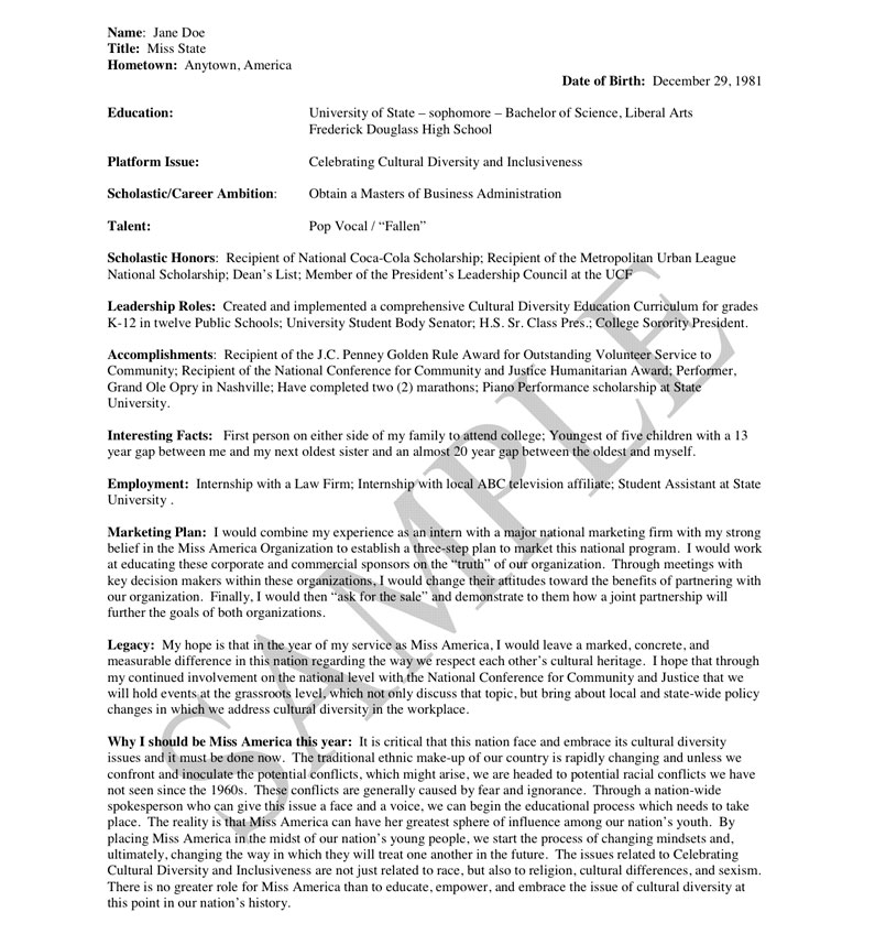 resume thesis example