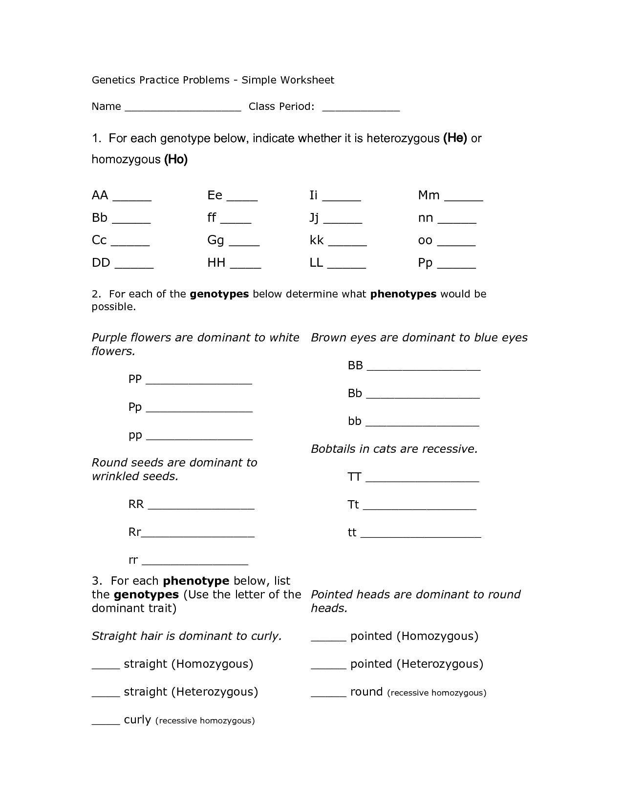 14 Best Images of Genetics Problems Worksheet With Answer