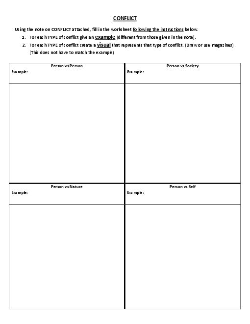 Creative writing conflict worksheets - Conflict and Characters