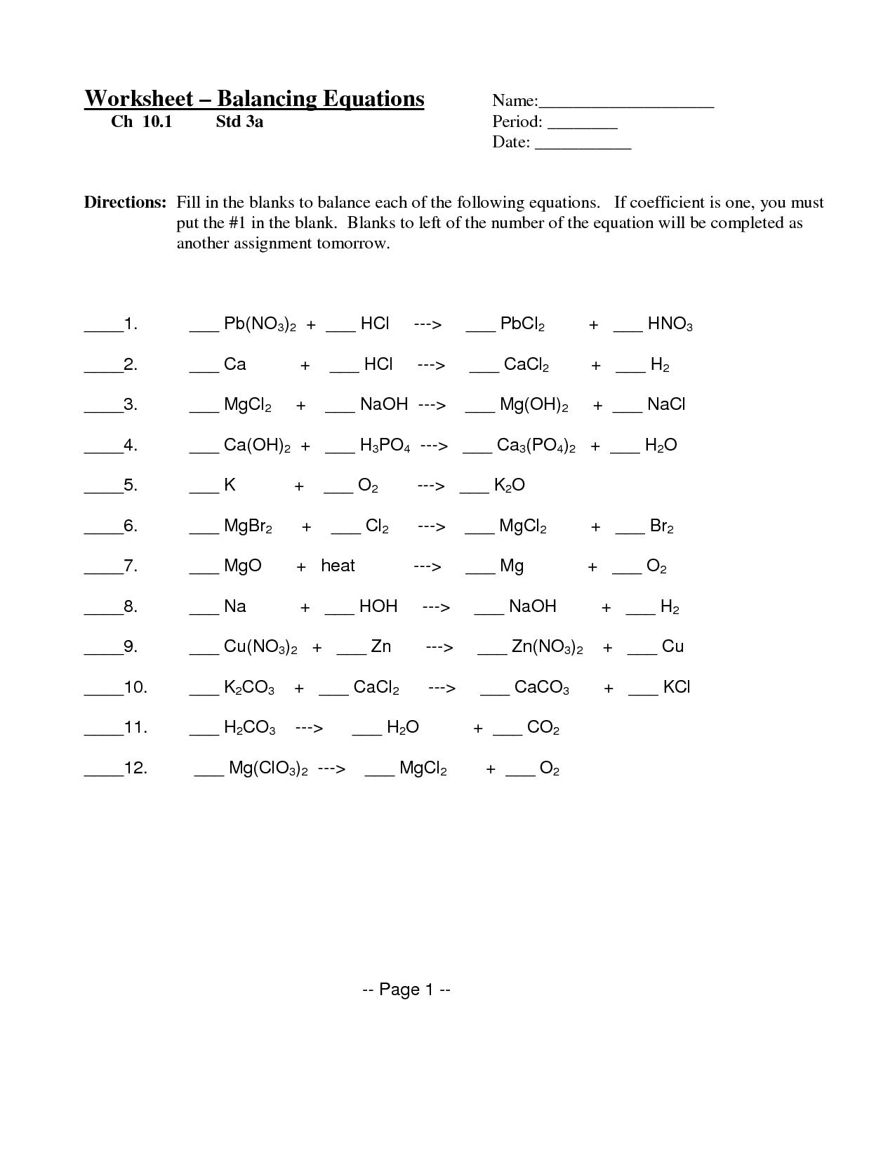 worksheet Worksheet Word Equations balancing chemical equations worksheet 3 calleveryonedaveday word problem subtraction worksheets