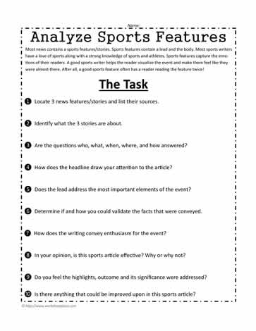 Sports Writing Analysis Worksheets