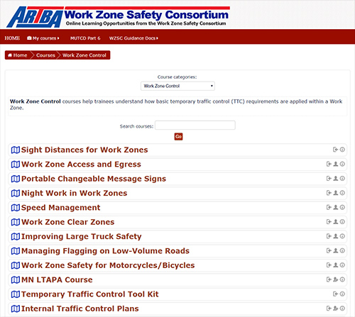 Online Learning Management System (LMS) Developed by ARTBA Work Zone