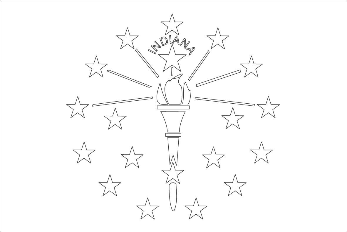 Indiana State Flag Coloring Page - Democraciaejustica