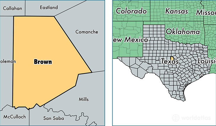 Brown County Texas Map Of Brown County Tx Where Is