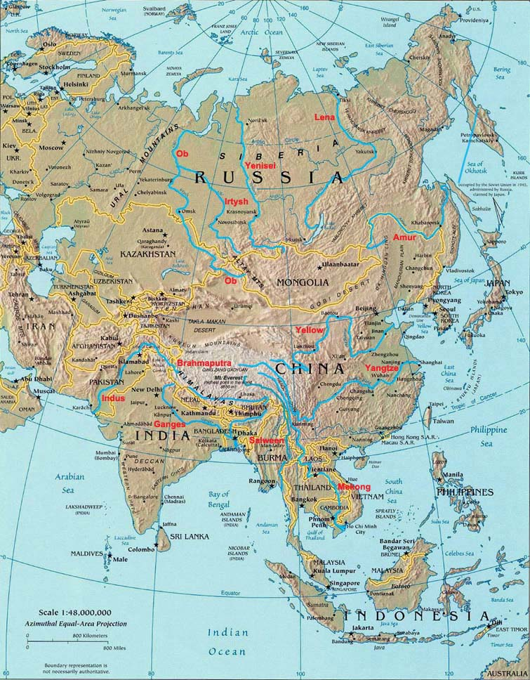 Rivers of Asia, Landforms of Asia - Worldatlas