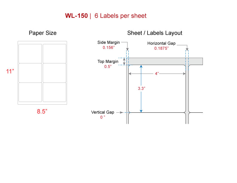 Shipping labels, Our WL-150 (same size Avery® 5164 8164) Labels for