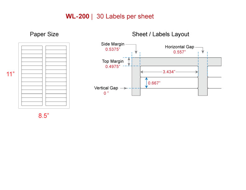 File Folder labels, Our WL-200 (Same size as Avery® 5366, 5066