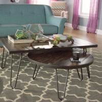 Round Wood Hairpin Coffee Table | World Market