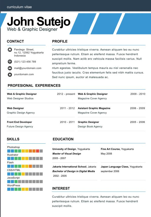 Elegant one page resume template - one page resumes
